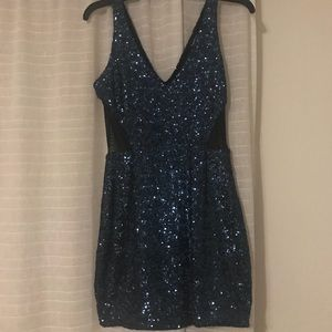 Navy and Black sequin dress. Mesh sides.